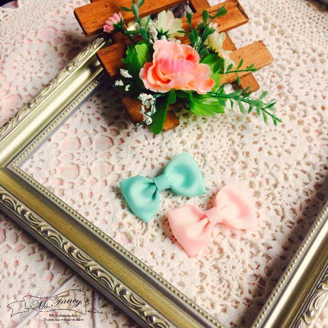 日雜ZipperAMO原宿系少女風雙色粉色蝴蝶結髮夾
