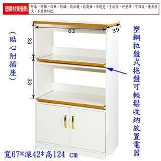 【防潮戰士】2.3尺雙門電器櫃/碗盤收納櫃