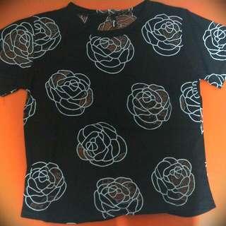 滿滿大玫瑰花上衣-黑