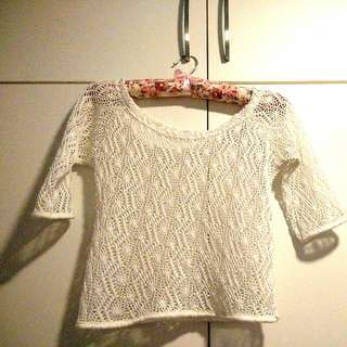 Cropped Knitted White Cardigan