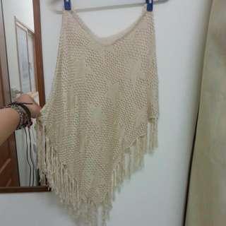 (全新)流蘇 罩衫 米白 透膚 星星