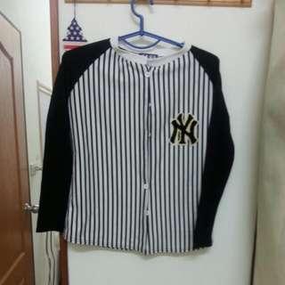 合身 棒球外套 直條紋