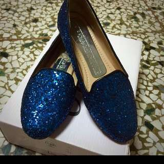 正韓。寶藍色亮片鞋