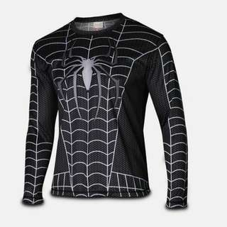 Black Spiderman Ready Stock Compresion Dry-fit Marvel DC Superheroes