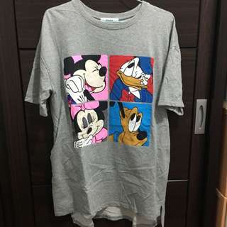 前短後長迪士尼人物灰色長T