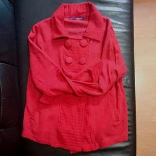 全新mamaway 紅色雙排扣針織外套/孕婦裝