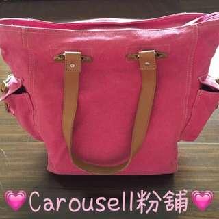 粉紅牛仔布大型手提包👜