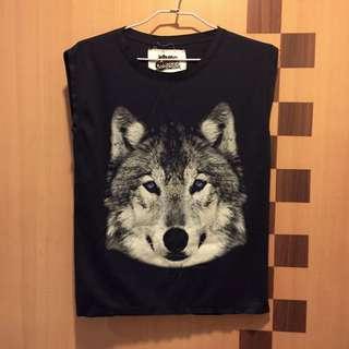 個性狼無袖背心(深藍)