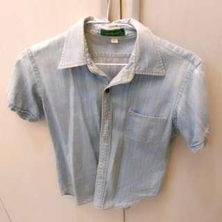 Giordano淺藍牛仔外套/襯衫