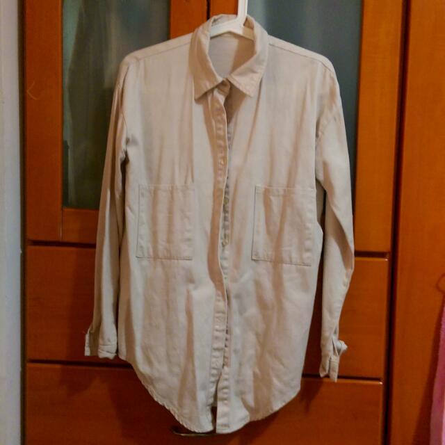 長版米白襯衫