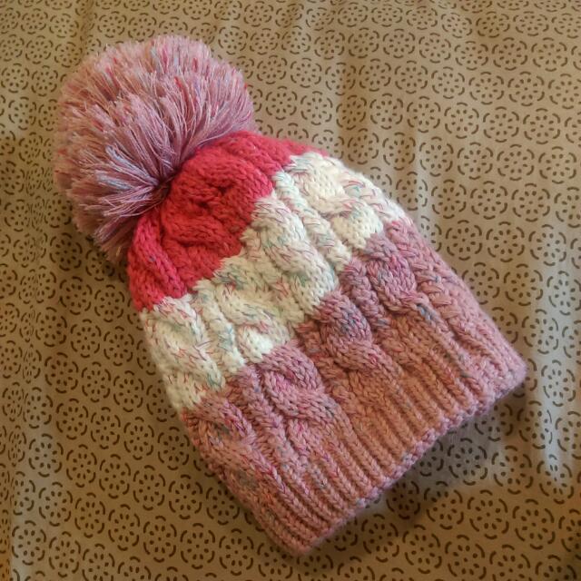🌹可愛粉紅漸層大球球毛帽🌹
