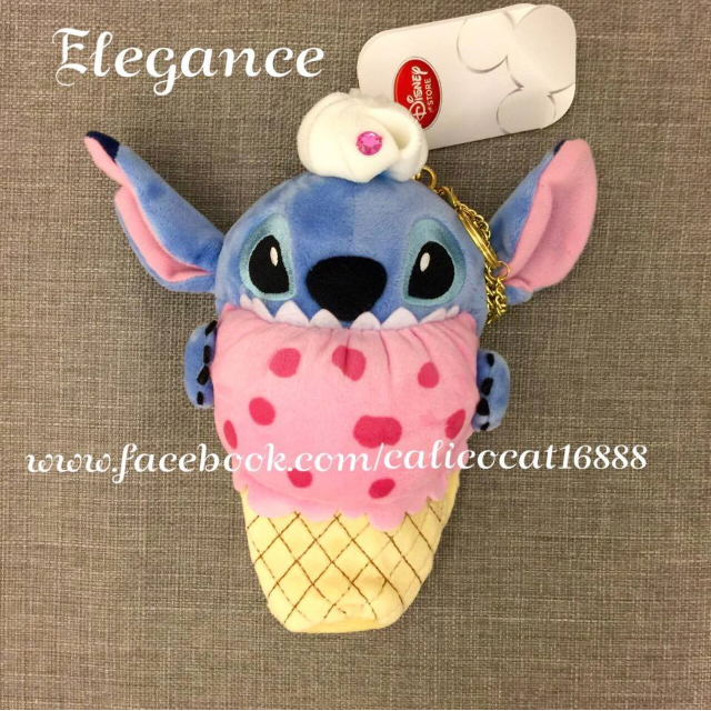 日本東京迪士尼 史迪奇玩偶 冰淇淋 鍊條掛飾包