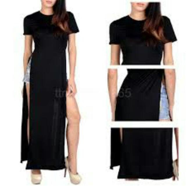 Aodai Inspired Maxi Dress With Slits. Brand NEW! Available in Black. Wear With Shorts, Tights Or Jeans. Latest Trend To Add To Your Wardrobe!