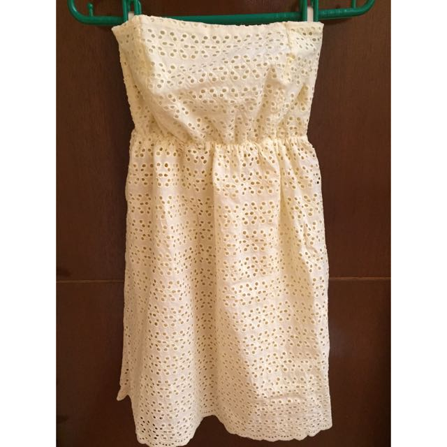 Light Yellow Eyelet Tube Dress( W Postage)