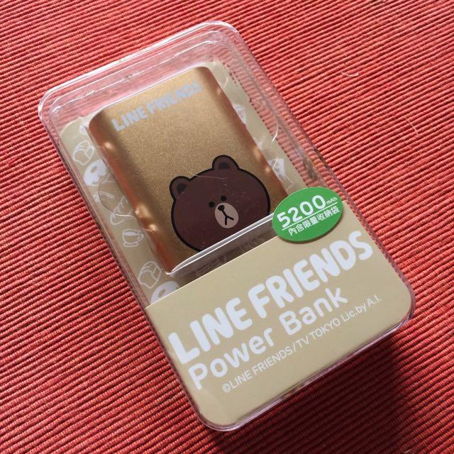 官方授權Line Friends熊大金色色行動電源手電筒