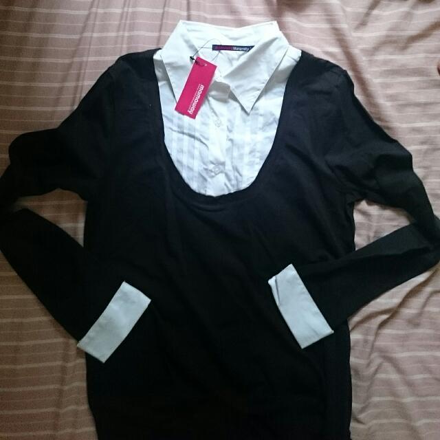 全新Mamaway 假兩件式翻領長袖襯衫/孕婦裝