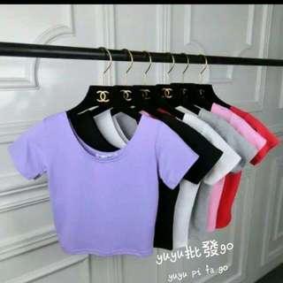 短版高腰衣 白.粉紅.淺紫.黑.大紅.玫瑰紅.灰
