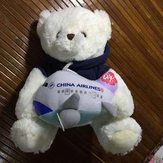 華航白色熊熊玩偶 飛機可拆式 可錄音播放