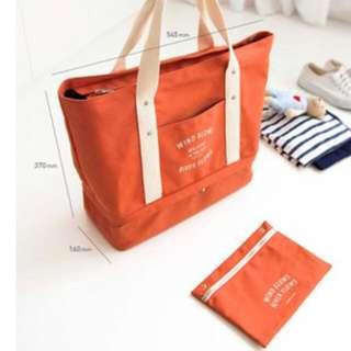 Korean Layer Bag Canvas Travel Cabin Tote Bag Separated Space Travel Tote Bag