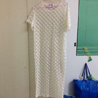 圓點罩衫裙米色