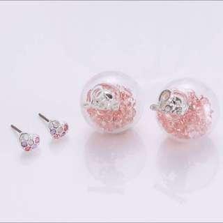 韓國🇰🇷 #今年最新最夯 玻璃透明水晶耳環 4件組 後扣水晶玻璃透明球LOVE鋼針抗過敏耳環NO.223(粉/白 2色)