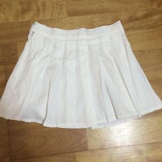 白色 百褶裙 學院風  顯瘦