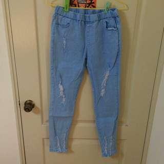 水藍 彈性 刷破牛仔褲