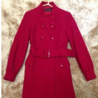 日本製 毛呢氣質雙排扣紅大衣