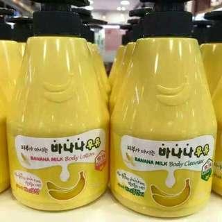 暢銷新鮮貨💕 店裡客人掃貨~~ ✔香蕉牛奶沐浴露560g ✔香蕉牛奶乳液560g  99.5%香蕉提取物,天然滋潤, 純香蕉牛奶的味道~~想喝😙 💲299 韓國連線 社團+1