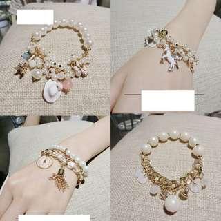 高級珍珠小馬蕾絲拼接珍珠時尚手鍊珍珠手鍊手環手飾