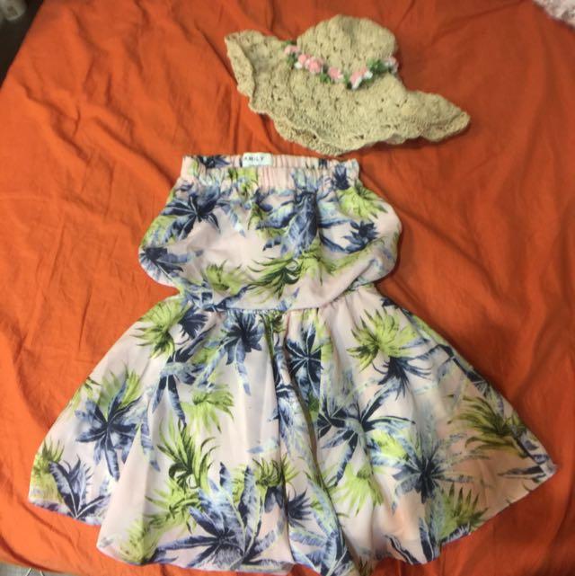 二手粉紅椰子樹柄平口洋裝