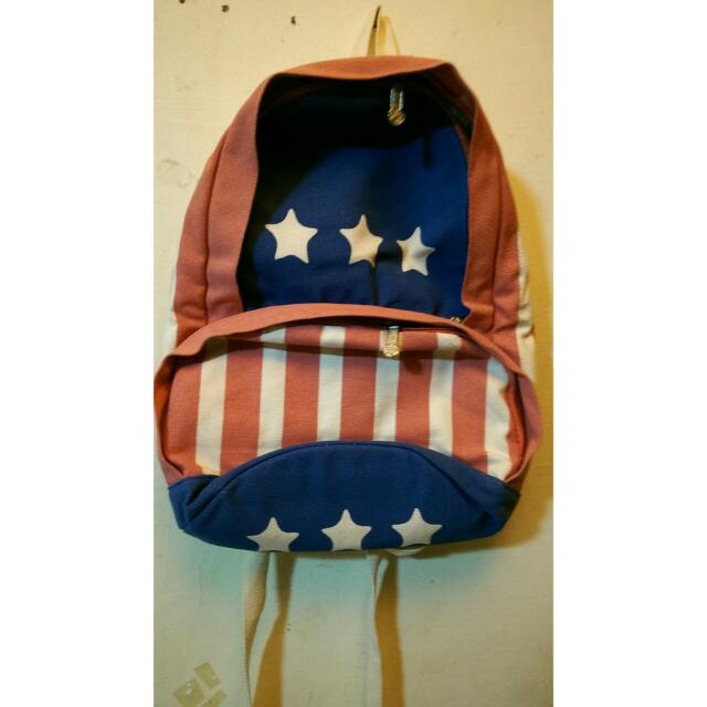 美國國旗 星星 帆布 後背包