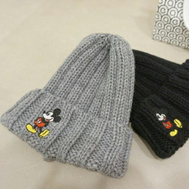 韓國米奇刺繡帽毛線針織帽