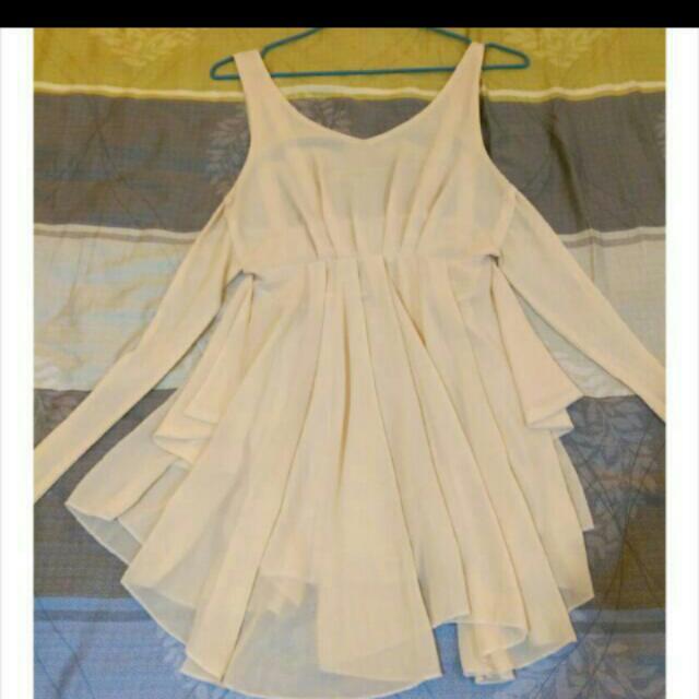雪紡露背短洋裝