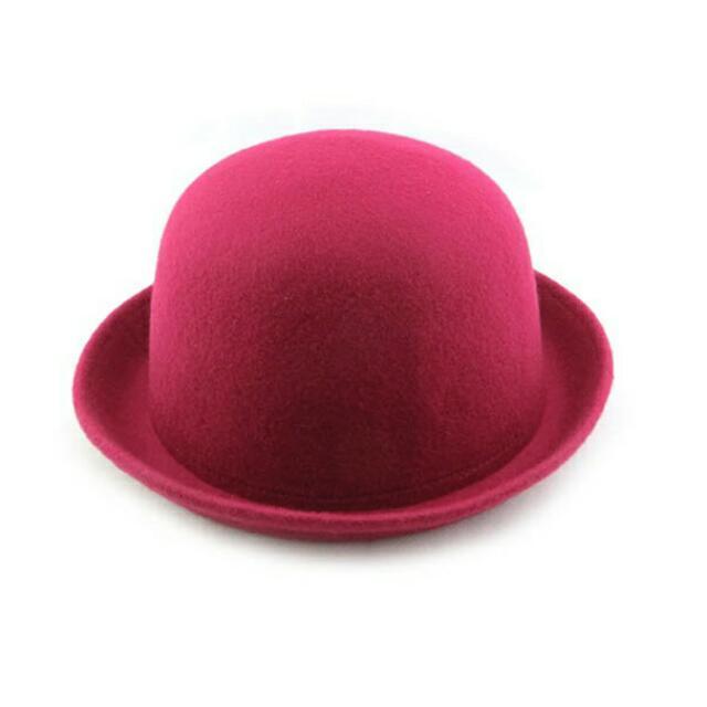 韓國 毛呢卷邊 圓頂 小圓帽
