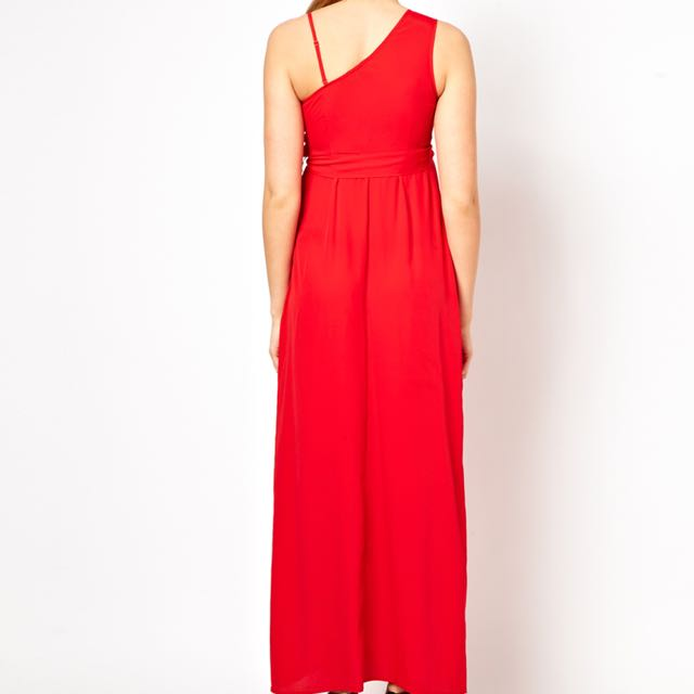 618030bbfde ASOS Maternity Exclusive One Shoulder Maxi Dress - Red UK10