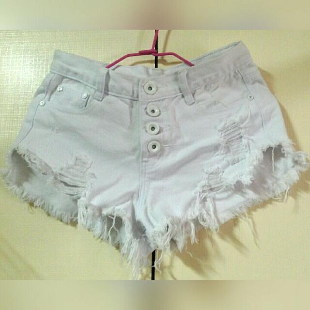 高腰白色短褲size:S