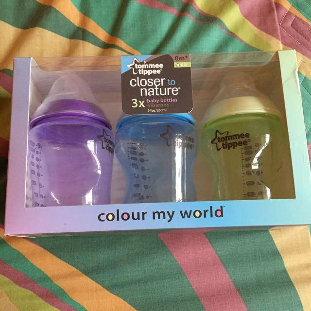 Tommee Tippee Closer To Nature, Colour My World, 9oz, 3pcs