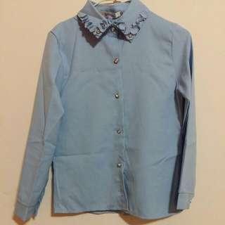 ✅二手 領口特別設計 粉藍色襯衫 上班 正式場合搭配 含運