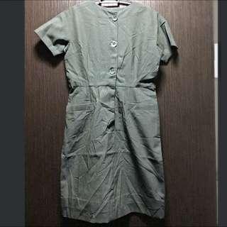 Vintage: Original Japan Olive Green Shift Dress