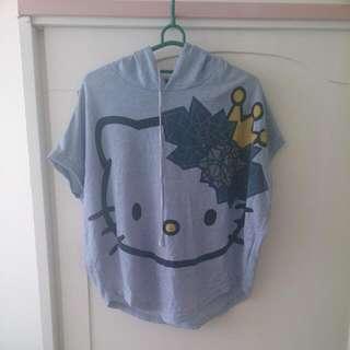 👑藍色傘狀短袖Hello Kitty上衣