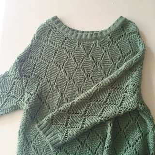 Green Thick Knit Pullover