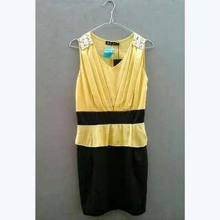 New! Yellow Peplum Dress