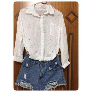 二手白色潑漆襯衫