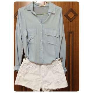 全新*水藍色襯衫