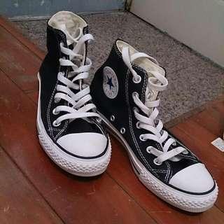 保留中❤黑色all star高筒帆布鞋