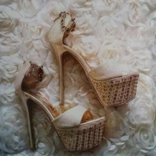 Wedding Gold Heels With Blings