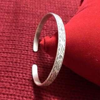手工雕刻純銀手環
