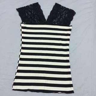 全新 黑白條紋 蕾絲 上衣