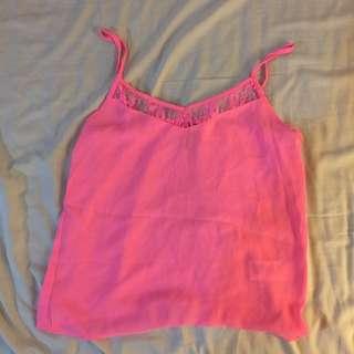 H&M 螢光粉紅 桃花 蕾絲 小背心